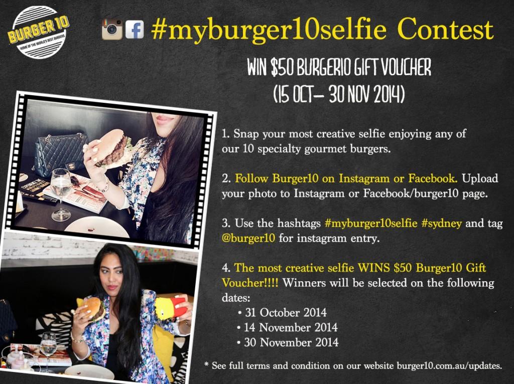 #myburger10selfie