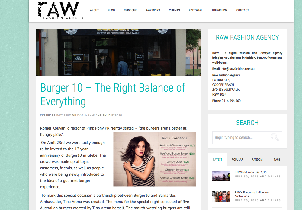 Burger10 at Raw Fashion Magazine
